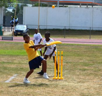 Action from the Scotiabank/WICB Kiddy Cricket Easter Festival Championship at the A. O. Shirley Recreation Grounds on Friday April 25, 2014. Photo: Charlie E. Jackson/VINO