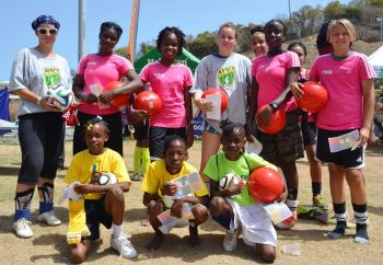 All the age group Challenge Winners show off their awards, key rings and new footballs. Photo: Charlie E. Jackson/VINO
