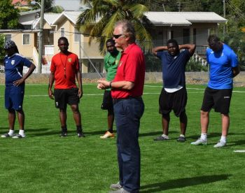 BVI Football Association (BVIFA) President, Andy Bickerton speaks to football coaches. Photo: Charlie E. Jackson/VINO