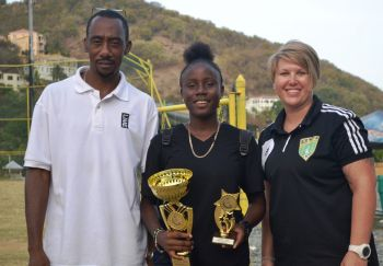 Laresha Martin was awarded the Golden Boots for scoring eleven goals while Lily Pierce was named the tournament's Most Valuable Player and also was second top scorer with seven goals. Photo: Charlie E. Jackson/VINO