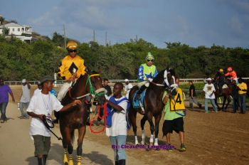 Scene from the St Thomas Carnival Races at the Clinton E. Phipps racetrack on May 2, 2014. Photo: Cleave M. Farrington