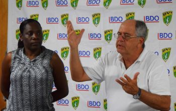 BVIFA Technical Director Marcos Falopa with Mrs Julianna Luke, BVIFA General Secretary addresses the assembled Coaches at the start of the BVIFA Level II Coaching Course. Photo: Provided