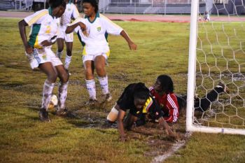 Brittany Peters and the BVI defense put up a battling display in appalling pitch conditions. Photo: Charlie E. Jackson/VINO