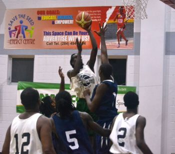 Asim Z. C. Beazer of Bayside Blazers puts one up from close range in the 2014 Hon Julian Fraser Save the Seed National Basketball League. Photo: VINO/File