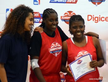 Shauliqua Fahie (centre) and Mahkayla Pickering with Skylar K. Diggins. Photo: Charlie E. Jackson/VINO