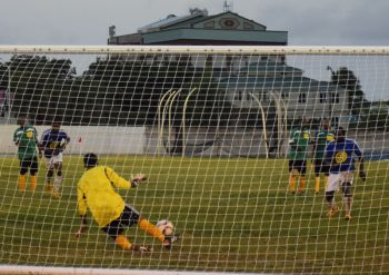 Thomas Albert saved a penalty for VG United but was powerless to stop the Islanders reaching the Terry Evans Cup Final. Photo: Charlie E. Jackson/VINO