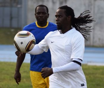 Kenmore Peters and Old Madrid overcame the Panthers 8-7 after penalty kicks in the Terry Evans Cup at the A.O. Shirley Recreation Grounds on April 24, 2016. Photo: Charlie E. Jackson/VINO