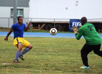A Panthers player sees his close range effort during regulation time saved by Hanif James. Photo: Charlie E. Jackson/VINO