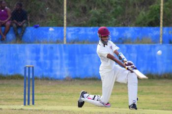 Nathan Francis smashed two sixes in the very first over of the run chase for the BVICA Youth Team. Photo: Charlie E. Jackson/VINO