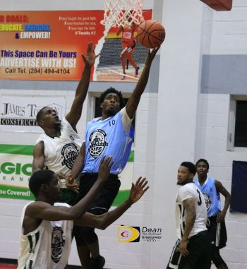 Jamari K. Dagou of Splash Brothers attempts a layup against Bayside Blazers during their clash in the Hon Julian Save the Seed Basketball League on Saturday August 26, 2017 at the Save the Seed Energy Centre Gym in Duff's Bottom, Tortola. Photo: Dean H. Greenaway aka 'The Sportsman'