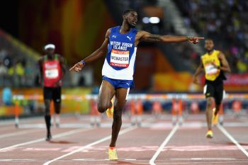 Virgin Islander Kyron A. McMaster inspired millions when he stormed to the gold medal in 48:25 seconds at the Gold Coast 2018 Commonwealth Games on April 12, 2018. Photo: Twitter/File