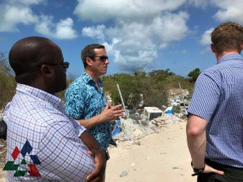 Debris Discussions: L to R: M Head of the Department of Waste Management, Mr. Greg Greg R. Massicote, RDA CEO Paul Bayly and RDA Temporary Project Manager Craig Owen discuss the clean up and reorganisation of the Anegada waste collection site. The Special Debris Clearance project will see the area rearranged and cleaned up considerably. Photo: Provided