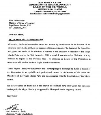 The letter written to Opposition Leader Hon Julian Fraser RA (R3) by Virgin Islands Party Chairman and fellow Opposition Member Hon Andrew A. Fahie (R1). Photo: Team of Reporters