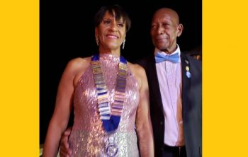 Mrs Delma Maduro and husband Audley Maduro. Mrs Maduro was installed as District 7020 Governor on July 6, 2019. Photo: Facebook