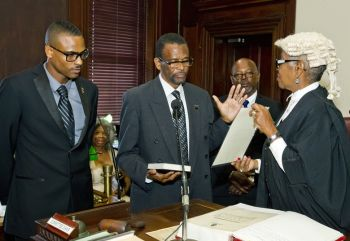 Speaker of the Bermuda parliament The Honourable Dennis Lister Jr. JP MP (2nd from left). Photo: Provided