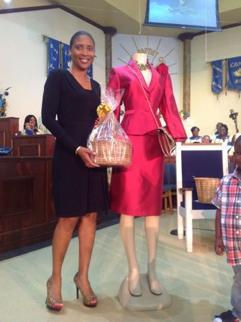Dezaree Woodley won a lady's suit complete with accessories from Beautiful by Jasanay. Photo: Provided