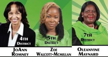 The three female District Candidates on the Virgin Islands Party slate. Photo: VINO