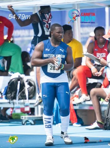 Djimon L. Gumbs had set the pace for the medal haul for the Virgin Islands at the 48th Carifta Games in the Cayman Islands when he captured bronze in the discus throw event on April 20, 2019. Photo: BVIAA/Facebook