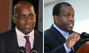 Addressing the nation on Monday night, December 2, 2019, Prime Minister of the Commonwealth of Dominica, Roosevelt Skerrit, left, accused the opposition Leader Lennox I. Linton, right, and his United Workers Party (UWP) of encouraging the violence as part of its strategy to disrupt the election, calling an end to the lawlessness. Photo: Internet Sources