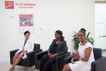 Dr Sharlon Lewis (Wellness Center), Vernecia Holder (Head International Corporate Banking), Stephane Burke, Country Manager, CIBC FirstCaribbean at BetterForBalance forum. Photo: Provided