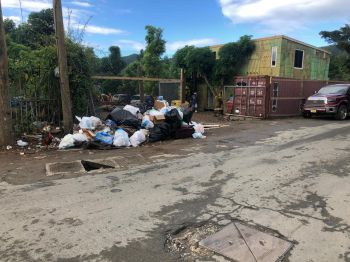 The unsightly garbage is in her district and it is reported that the bins were removed from the location to facilitate a new business. Photo: Provided