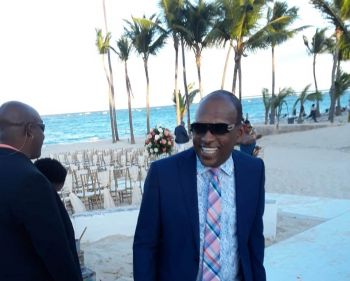 Fourth District Representative Hon Mark H. Vanterpool at the wedding of Opposition Leader Hon Marlon A. Penn (R8) and CEO of the National Bank of the Virgin Islands, Joy N. Francis . Photo: Team of Reporters