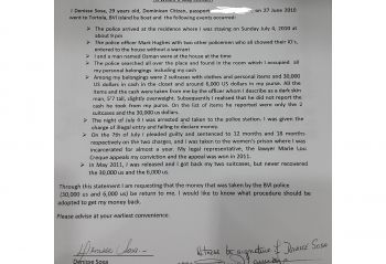 The signed affidavit made in 2014 in which Denisse Del Sosa Ventura, among other things, accused the RVIPF of stealing monies from her. Photo: VINO