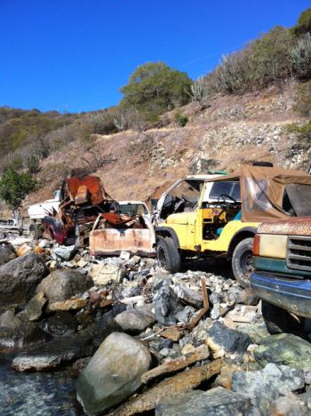 Some of the derelict vehicles removed during the committee's clean-up exercises at Batson Bay. Photo: VINO Team of Reporters
