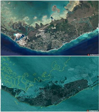 Before and after satellite imagery of Grand Bahama island. Photo: Photo Credits: Google Earth, Data SIO, NOAA, U.S. Navy, NGA, GEBCO After ICEYE