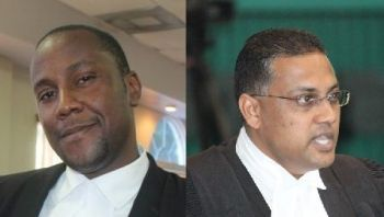 Patrick Thompson (left) is one of three persons from the Virgin Islands who made the short-list of five for the DPP post being vacated by Wayne L. Rajbansie (right). Photo: VINO/File
