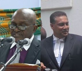 Both Justice Albert Redhead (left) and Director of Public Prosecutions (DPP) Wayne Rajbansie had enough of adjournments in the trial of Andre A. Penn and insisted its commencement on July 8, 2013 even though Mr Penn was unrepresented. Photo: VINO/File