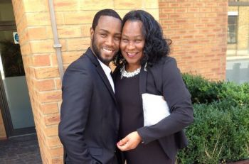 Ms Delores Creque and her son Hakim T. Creque at his UK Bar call. Photo: Provided