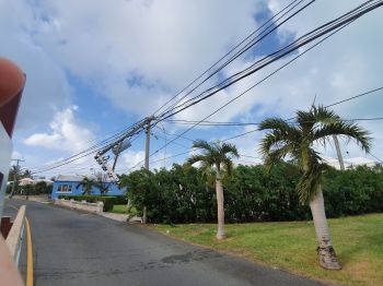 In one image from the island, a utility pole is seen snapped in half. Photo: Twitter
