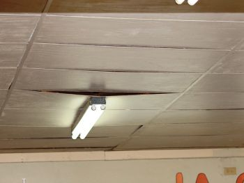 Replaced ceiling panels at the school seen on February 7, 2013 after being sanitized. Photo:VINO