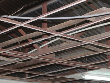 The ceiling at the school after panels were removed for sanitization on February 5, 2013. Photo:VINO