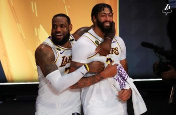 The Finals' Most Valuable Player (MVP) LeBron R. James, left, posted a triple double - scoring 28 points, 14 rebounds and 10 assists - with both Anthony M. Davis, right, and Rajon P. Rondo adding 19 points. Photo: Twitter