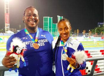 Eldred Henry and Chantel E. Malone all smiles with medals on display. Photo: CM Farrington/BVIOC