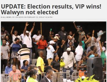 A screenshot of a local news article headline that appeared after the 2019 election results were announced. Myron V. Walwyn was the biggest loser. Photo: BVI News