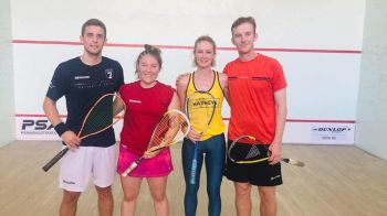 In the Exhibition Mixed Doubles played May 18, 2019, Daniela Schumann and Joe Chapman bt Maria Tovar and Adam Murrills 11-9, 6-11, 11-7. Photo: Provided