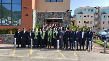 Members of the judiciary, along with members of government, following the Special Sitting of the Eastern Caribbean Supreme Court in the Virgin Islands to signal the opening of the 2020 Law Year on January 13, 2020. Photo: VINO