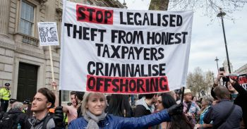 A protest against Offshore Financial Services in London earlier this year. Photo: Internet Source