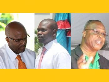In D5, the Virgin Islands Party (VIP) candidate is Kye M. Rymer (Center) the former Commissioner of Motor Vehicles, the National Democratic Party (NDP) has Elvis J. Harrigan (Right) a former legislator, and Wade N. Smith (Left) will be running with the NDP breakaway group called Progressive Virgin Islands Movement (PVIM). Photo: VINO/File