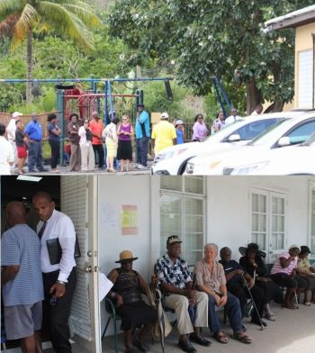 Persons line up at polling stations during the 2015 General Elections. Photo: VINO