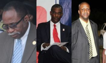 From left: Legislators Hons Julian Fraser RA, Archibald C. Christian and Andrew A. Fahie all had their concerns expressed before the Standing Finance Committee (SFC) about community centres in the territory. Photo: VINO