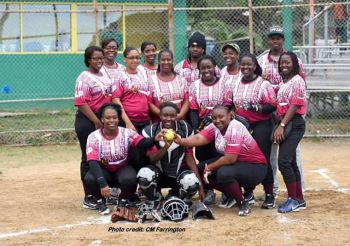 Our young professional (far right) enjoys playing softball during the Virgin Islands annual softball league. Photo: Facebook