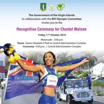 The flyer for the Recognition Ceremony for Chantel E. Malone, the Virgin Islands first Pan Am Games medalist. Photo: GIS