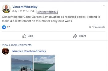 Minister for Natural Resources, Immigration and Labour, Hon Vincent O. Wheatley (R9) on July 6, 2019 stated on the Facebook page, BVI Community Board, that he would be making a statement on the issue of boats anchoring close to shore early this week. Photo: Facebook