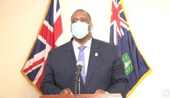 Premier and Minister of Finance, Honourable Andrew A. Fahie (R1) in a live update on May 19, 2020, said even though the Opposition shunned meetings to address the needs of their District, the Virgin Islands Party (VIP) Government was able to still ensure representation of those Districts through the four At-Large Territorial members. Photo: Facebook