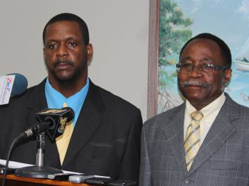 At a press conference held on August 20, 2013 Dr Smith was asked whether he would offer an apology as demanded by Opposition Members Hon. Andrew A. Fahie (left) and Hon. Julian Fraser, RA and he answered that he didn't see it as a walkout. Photo: VINO/File