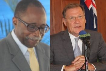 Both Opposition Member Hon Julian Fraser RA (R3), left, and Governor John S. Duncan OBE, right, have blasted the National Democratic Party (NDP) administration for their lack of transparency. Photo: VINO/File